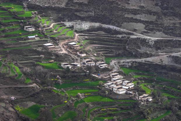 Campi coltivati nella valle che scende da Deqin
