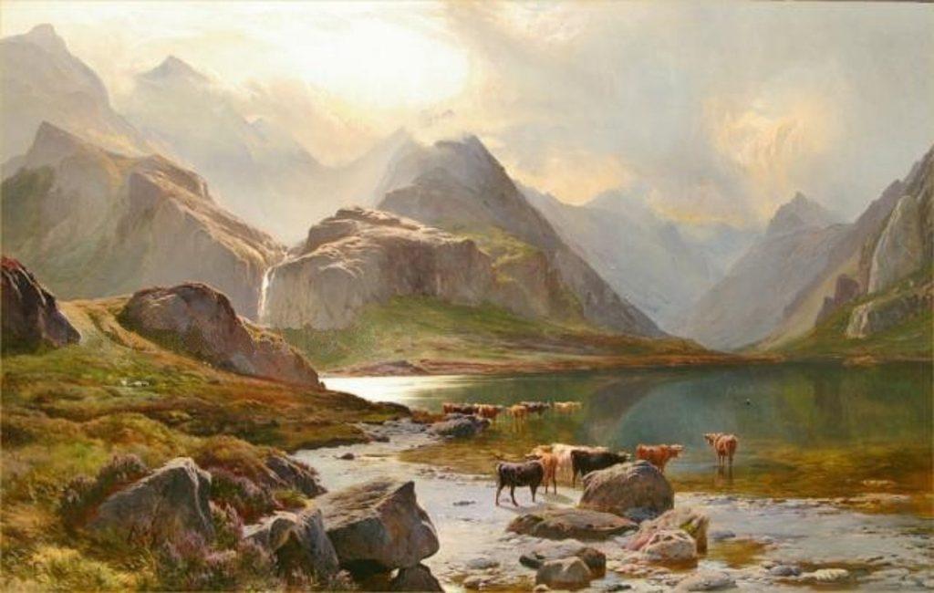 Veduta del Loch Coruisk di Sidney Richard Percy, con dei manzi in primo piano