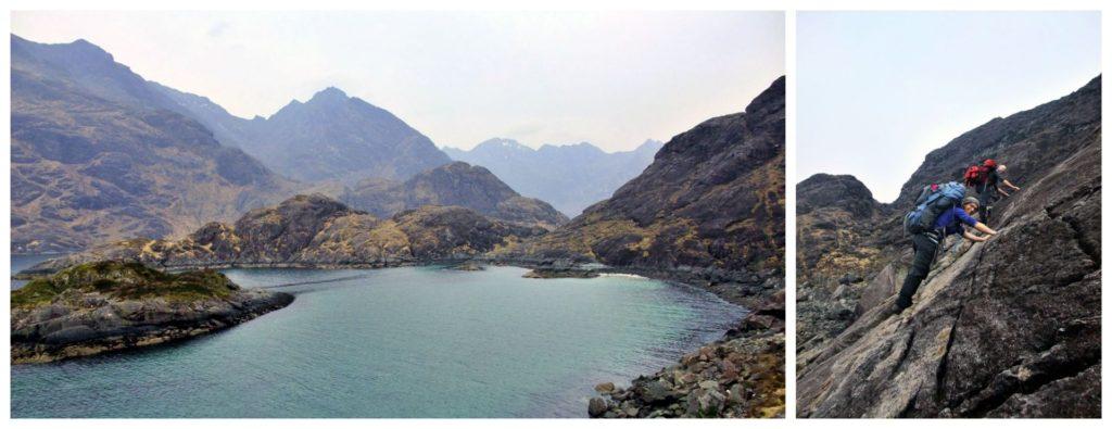 L'accesso dal mare al Loch Coruisk e John e Mel sul Bad Step